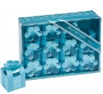 Mini Blue Square Favour Boxes With Flowers (12)